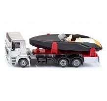 Camion MAN TGS cu barca, Siku 2715, scara 1:50