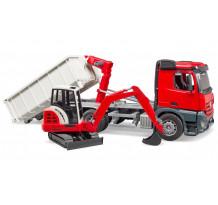Camion Mercedes-Benz cu container Abroll, cu excavator Schaeff, Bruder 03624