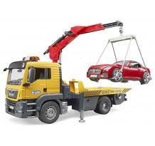 Camion platforma MAN TGS cu macara, roadster, Bruder 03750