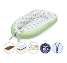 Cuib pentru bebelusi Scamp, Premium Baby Nest, cu saltea de cocos, 100% bumbac, antialergic, Green Zigzag Big Star