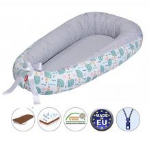 Cuib pentru bebelusi Scamp, Premium Baby Nest, cu saltea de cocos, 100% bumbac, antialergic, Hedgehog Green
