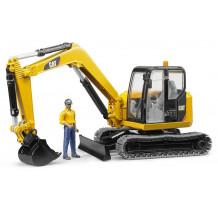 Excavator Cat Minibagger cu muncitor, Bruder