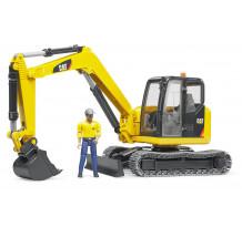 Excavator Cat Minibagger cu muncitor, Bruder 02466