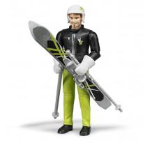 Figurina barbat cu schiuri Bruder bworld 60040