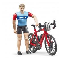 Figurina ciclist cu bicicleta de curse, Bruder 63110