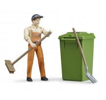 Figurina muncitor curatenie stradala cu accesorii, Bruder