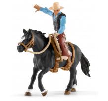 Figurina Schleich 41416, Calaret rodeo cu cal si cowboy