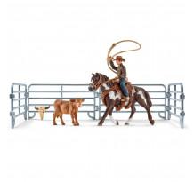 Figurina Schleich 41418, Vacar cu lasou prinzand vitelul