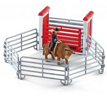 Figurina Schleich 41419, Taur de calarit cu cowboy