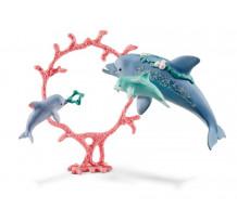 Figurina Schleich 41463, Delfini mama cu copii