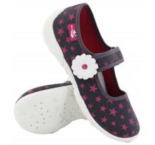 Incaltaminte fetite, din material textil, gri, cu stelute roz