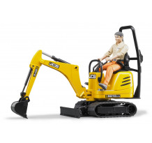 JCB micro excavator cu figurina muncitor, Bruder