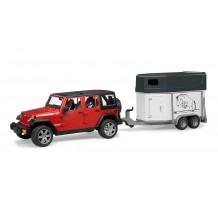 Jeep Wrangler Unlimited cu remorca cai si 1 cal Bruder 02926