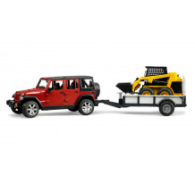 Jeep Wrangler cu trailer si incarcator compact CAT, Bruder