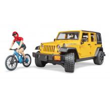 Jeep Wrangler Rubicon, cu bicicleta de munte si ciclist, Bruder 02543