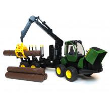 Bruder tractor forestier John Deere 1210E, cu graifar