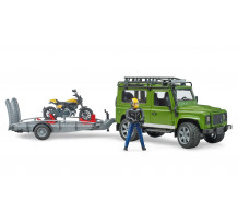 Land Rover Defender si motocicleta Ducati Scrambler cu figurina, Bruder 02598