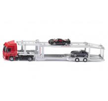 Macheta Camion Siku Autotransport cu doua masinute incluse