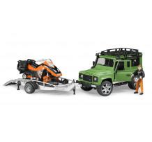 Masina Land Rover Defender cu remorca, cu snowmobil + sofer, Bruder