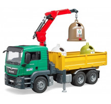Masina de gunoi MAN TGS cu macara si 3 containere, Bruder 03753