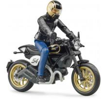 Motocicleta Ducati Cafe Racer cu figurina motociclist, Bruder