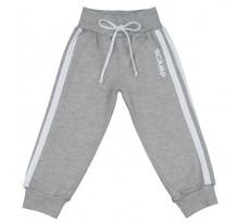 Pantaloni trening bebelusi cu banda lata in talie, gri cu dungi albe