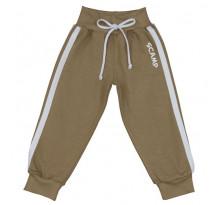 Pantaloni trening bebelusi cu banda lata in talie, bej-alb