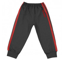 Pantaloni trening negru grafit cu dungi rosii