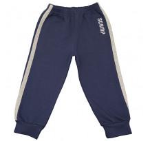 Pantaloni trening cu elastic in talie, albastru inchis cu dungi gri