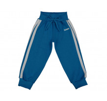 Pantaloni trening bebe cu banda lata in talie albastru inchis-alb