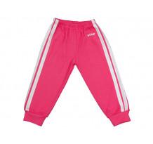 Pantaloni trening copii cu elastic in talie roz fucsia-alb