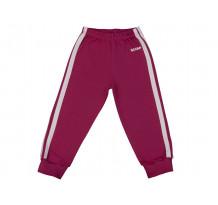 Pantaloni trening copii cu elastic in talie purpuriu-alb
