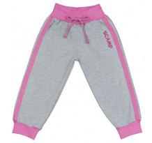 Pantaloni trening cu banda lata in talie, gri cu dungi roz