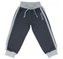 Pantaloni trening cu banda lata in talie, negru cu dungi gri