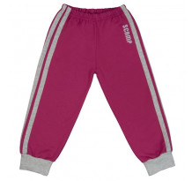 Pantaloni trening copii, cu elastic in talie purpuriu cu dungi
