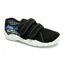 Pantofi baietel, din material textil, bleumarin, cu motiv masina