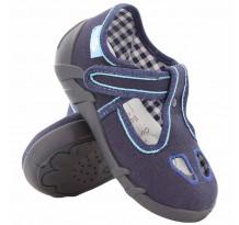 Pantofi baietel cu scai, din material textil, bleumarin