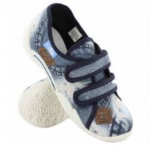 Pantofi baietel cu scai, din material textil, jeans