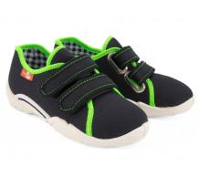 Pantofi baietel, cu scai, din material textil, negru