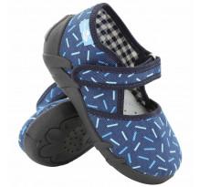 Pantofi baietel, din material textil, albastru cu scai