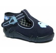 Pantofi baietel, din material textil, cu catarama, bleumarin