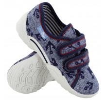 Pantofi baietel cu scai, din material textil, albastru