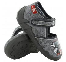 Pantofi baietel, din material textil, gri cu scai, Great racing