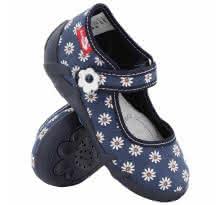 Pantofi fetite, din material textil, albastru inchis cu floricele albe