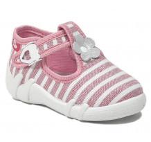 Pantofi fetite cu catarama, din material textil, cu motiv floricel