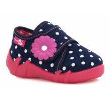 Pantofi fetite, din material textil, bleumarin, cu bulinute albe si floricel REB5118