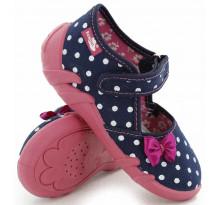 Pantofi fetite, din material textil, bleumarin, cu bulinute albe si fundita