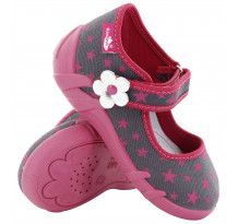 Pantofi fetite, din material textil, gri cu scai, cu motive stelute