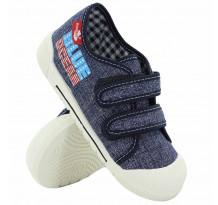 Pantofi tenisi baieti, din material textil, cu scai, Jeans
