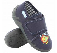 Pantofi baietel, din material textil, bleumarin cu scai, cu motive brodat